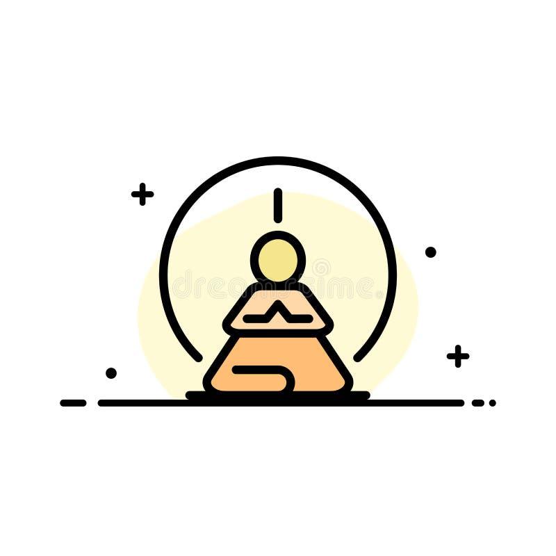 Mental koncentration, koncentration, meditationen som var mental, plan linje för meningsaffär, fyllde mallen för symbolsvektorban vektor illustrationer