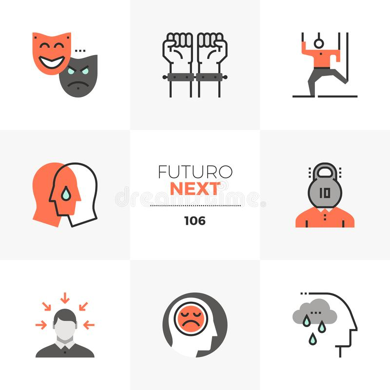 Mental Problem Futuro Next Icons. Modern flat icons set of mental problem, emotional stress, empathy. Unique color flat graphics elements with stroke lines stock illustration