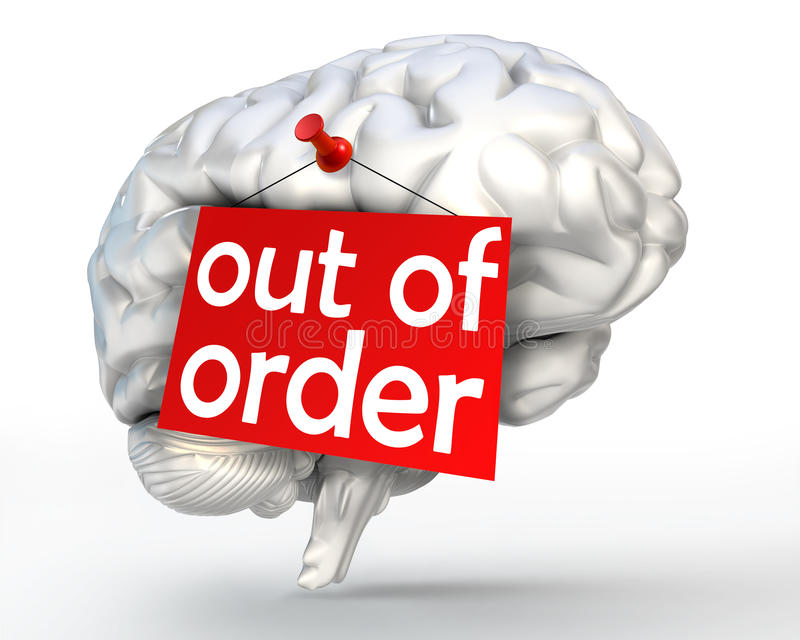 Mental Problem Out Of Order Red Sign On Human Brain Stock Illustration