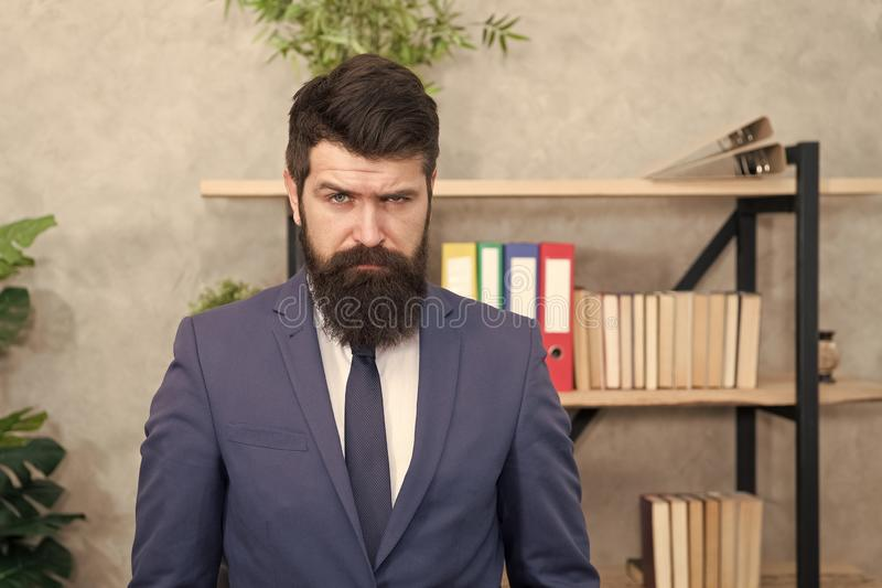 Mental process of choosing from set of alternatives. Hard decision. Business decision. Man bearded businessman. Thoughtful face solving problem making decision royalty free stock images