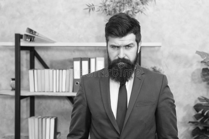 Mental process of choosing from set of alternatives. Hard decision. Business decision. Man bearded businessman. Thoughtful face solving problem making decision stock photography
