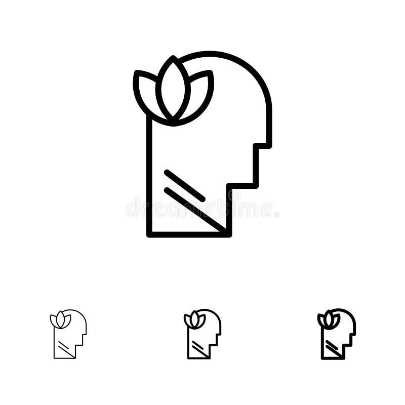 Mental, relajación, mente, línea negra intrépida y fina principal sistema del icono stock de ilustración
