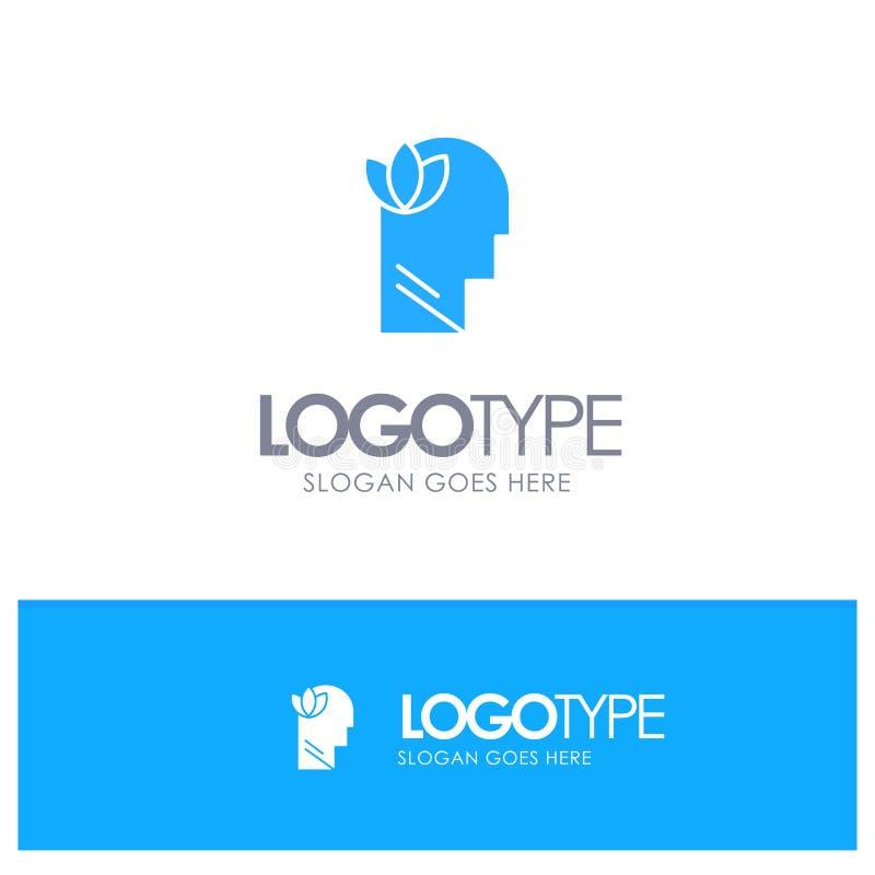 Mental, relajación, mente, logotipo sólido azul principal con el lugar para el tagline stock de ilustración