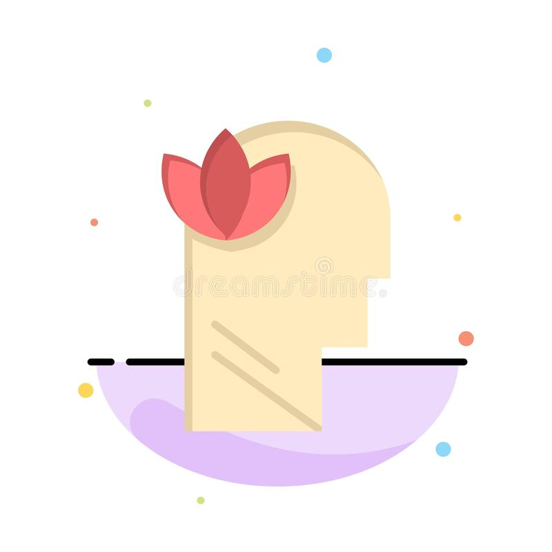 Mental, Relaxation, Mind, Head Abstract Flat Color Icon Template stock illustration