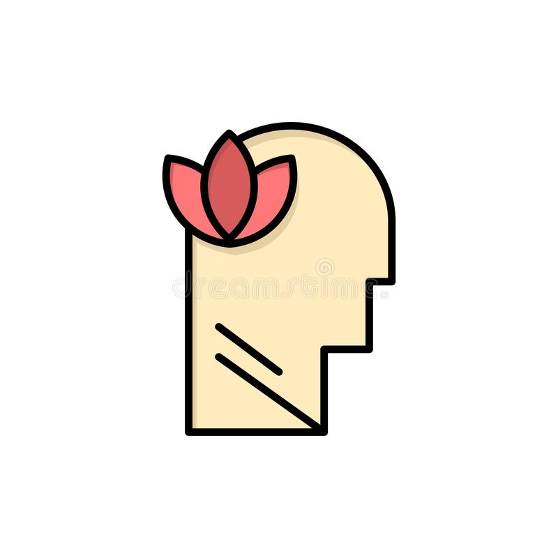 Mental, Relaxation, Mind, Head  Flat Color Icon. Vector icon banner Template vector illustration