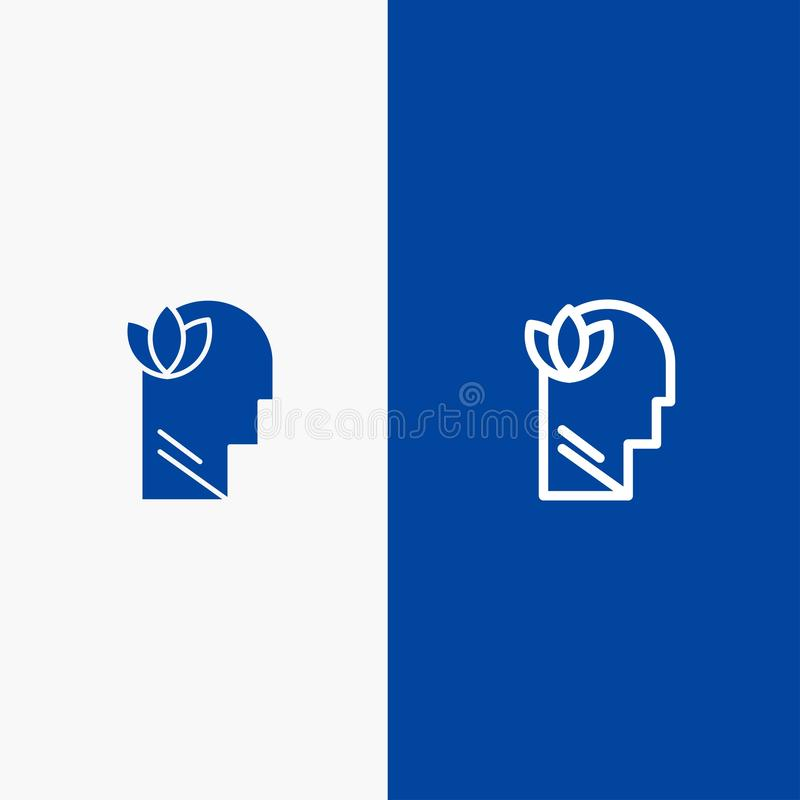 Mental, Relaxation, Mind, Head Line and Glyph Solid icon Blue banner Line and Glyph Solid icon Blue banner royalty free illustration