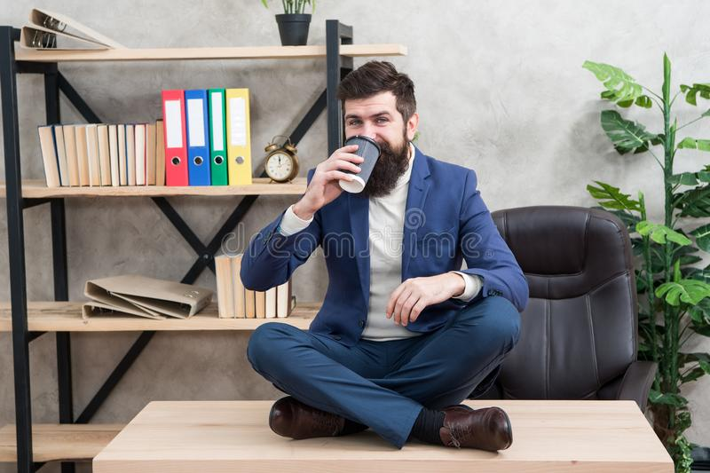 Mental wellbeing and relax. Man bearded manager formal suit sit lotus pose relaxing. Prevent professional burnout. Way royalty free stock images