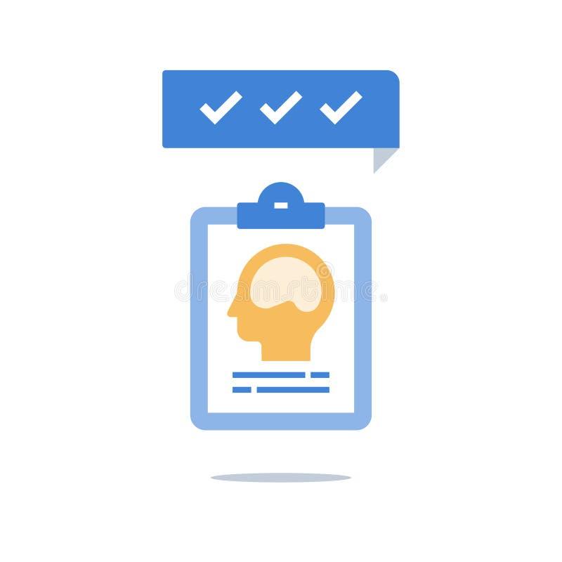 Mentala hälsor, intelligensutvärdering, tillväxtmindset, personlig spänning, idérikt tänka, psykiatri eller neurologi stock illustrationer