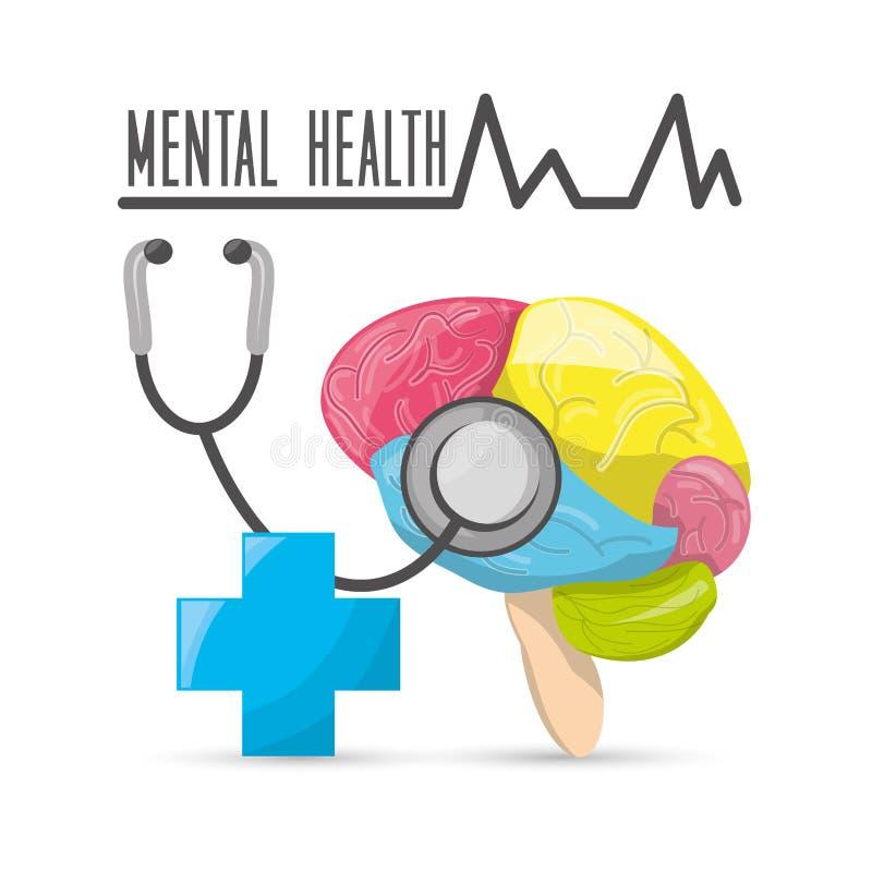 Mentalt sunt med stetoskop- och sjukhussymbol stock illustrationer