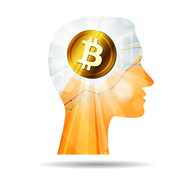 Mente creativa que piensa alrededor en icono del bitcoin ilustración del vector