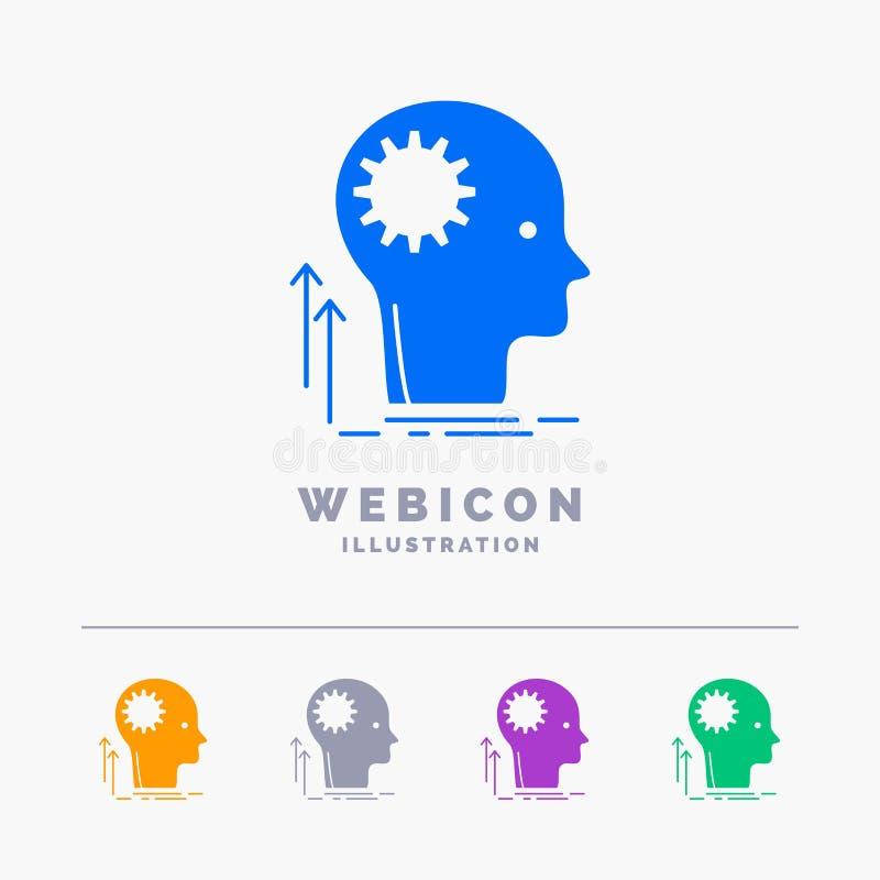Mente, creativo, pensando, idea, inspirándose la plantilla del icono de la web del Glyph de 5 colores aislada en blanco Ilustraci stock de ilustración
