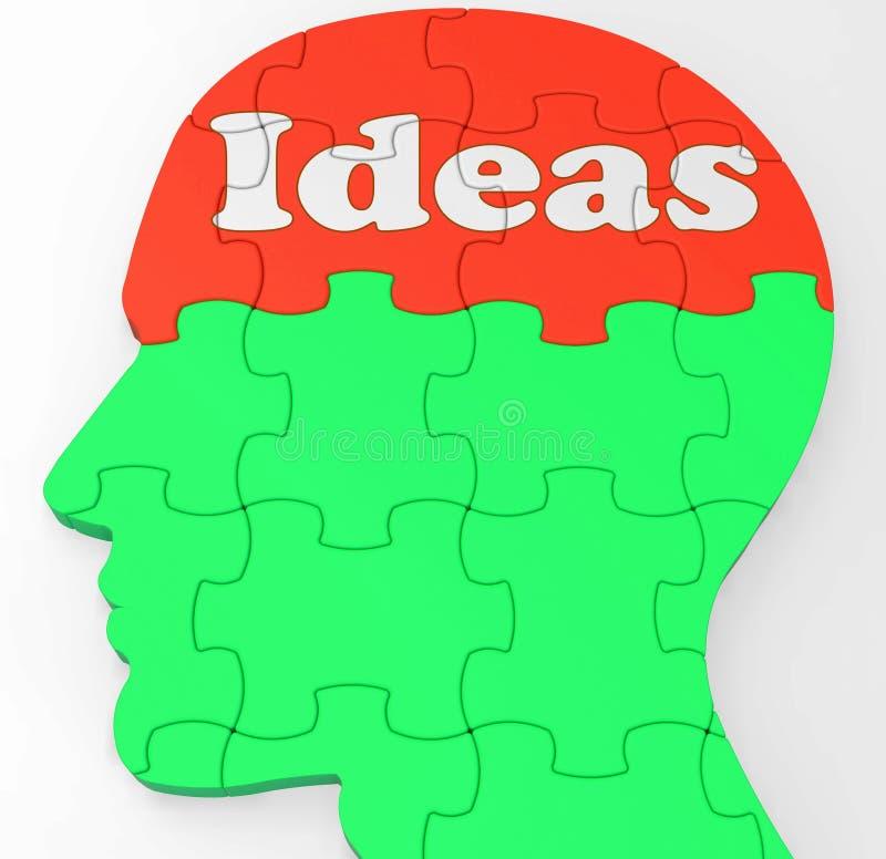A mente das ideias mostra pensamentos ou faculdade criadora da melhoria ilustração do vetor