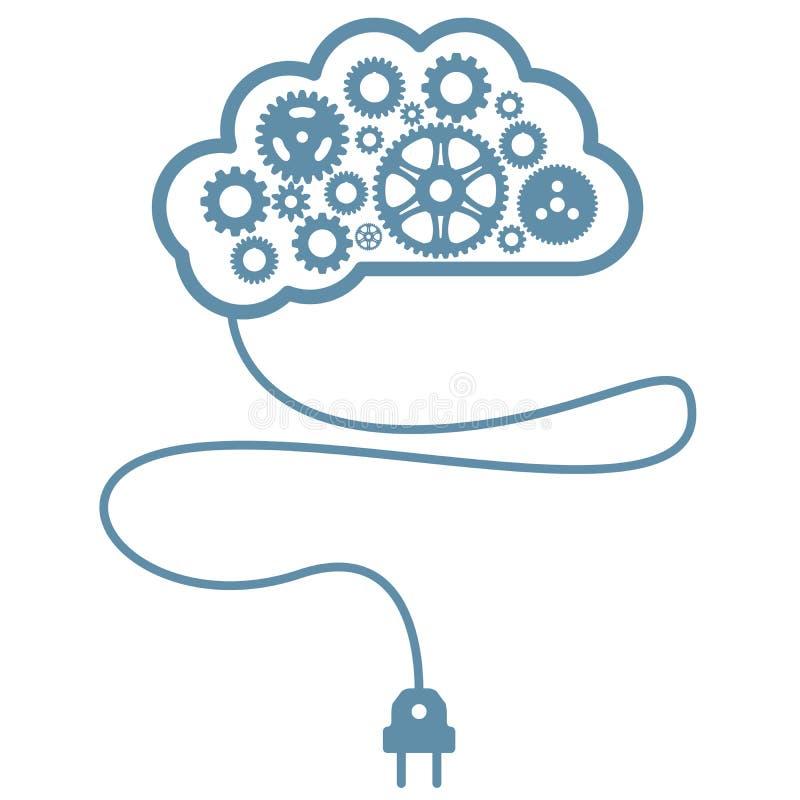 Mente e inteligencia artificiales - cerebro con las ruedas dentadas libre illustration