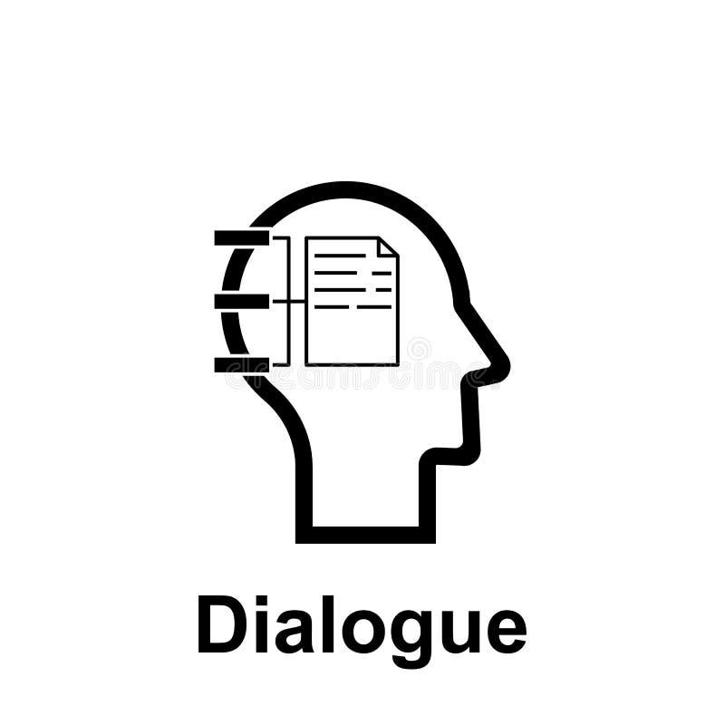 Mente humana, icono del diálogo Elemento del icono de la mente humana para los apps m?viles del concepto y del web La línea fina  libre illustration