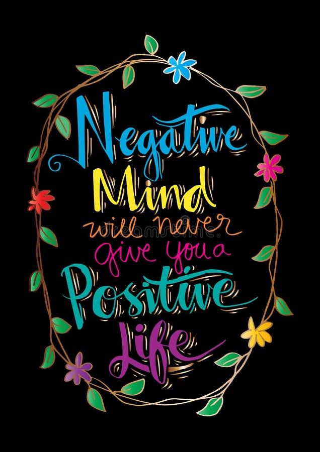 A mente negativa nunca dar-lhe-á uma vida positiva ilustração royalty free