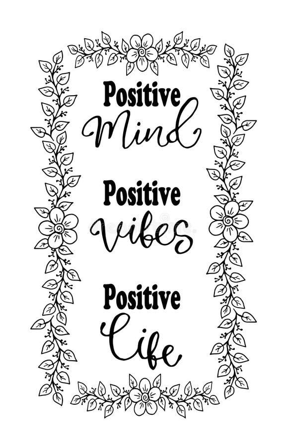 Mente positiva, ambientes positivos, vida positiva Cita inspirada Tipografía para la camiseta ilustración del vector
