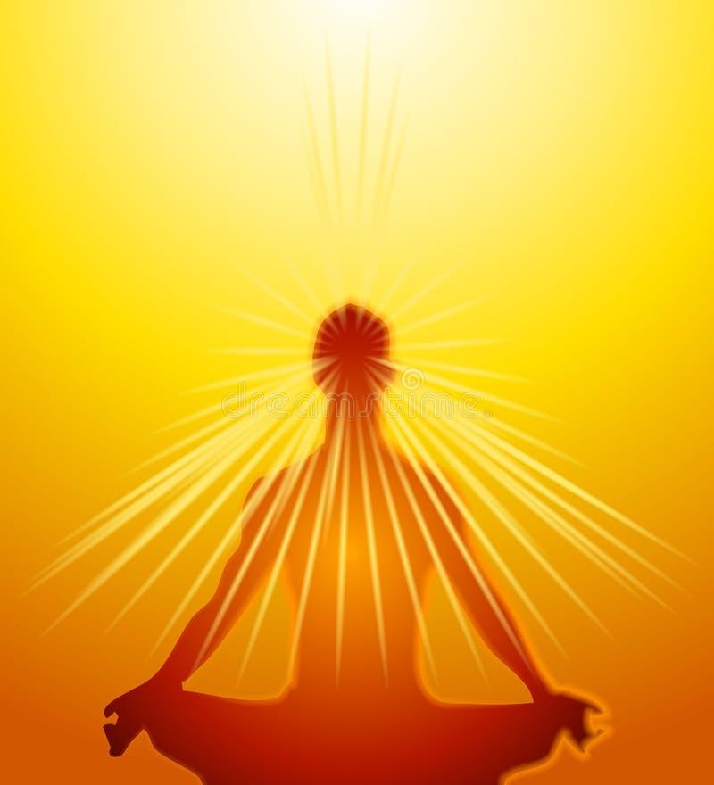 A mente psíquico pôr a meditação ilustração royalty free