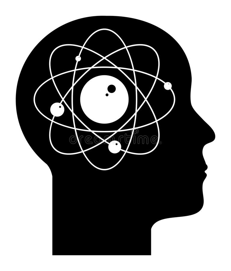 Mente umana - atomo illustrazione vettoriale