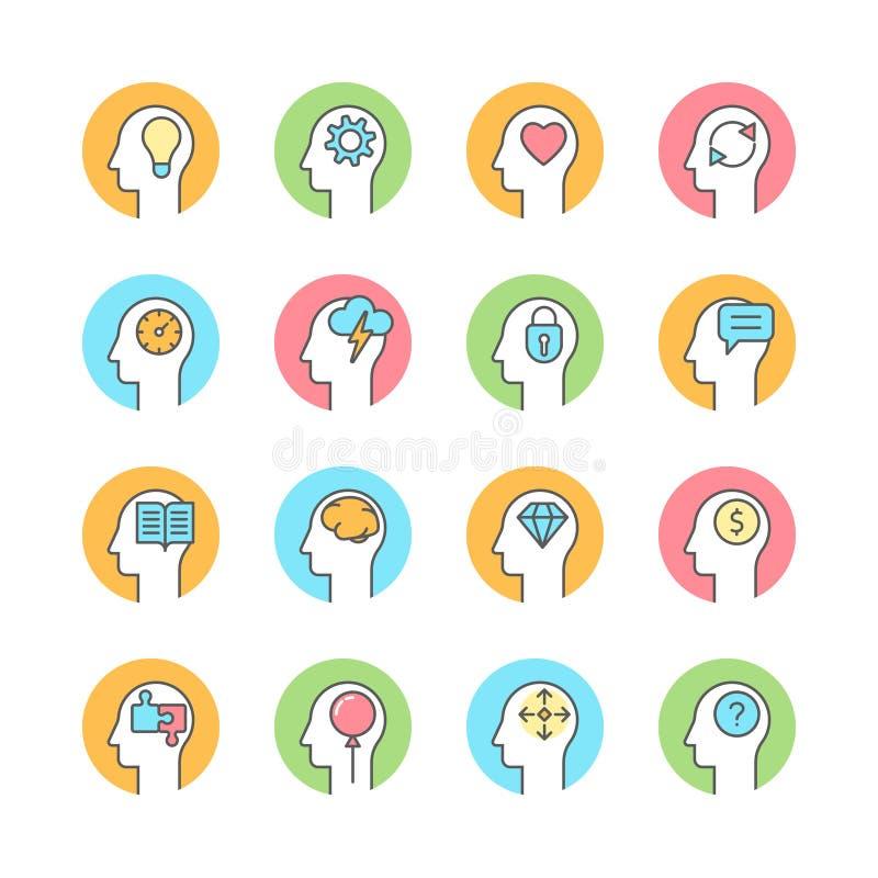 Mente umana, 'brainstorming', linea di pensiero icona piana illustrazione di stock