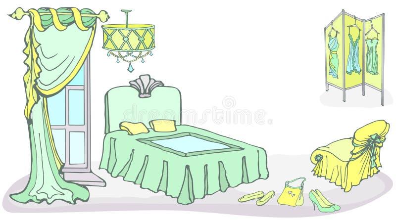 Menthe brusque de la couleur screen2 de lit de meubles illustration stock