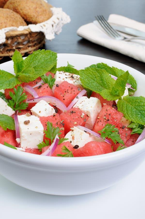 Menthe de salade de feta de pastèque photo stock