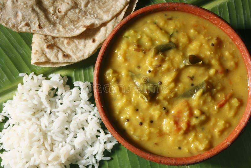 Menthi Dal或葫芦巴扁豆咖喱 库存图片