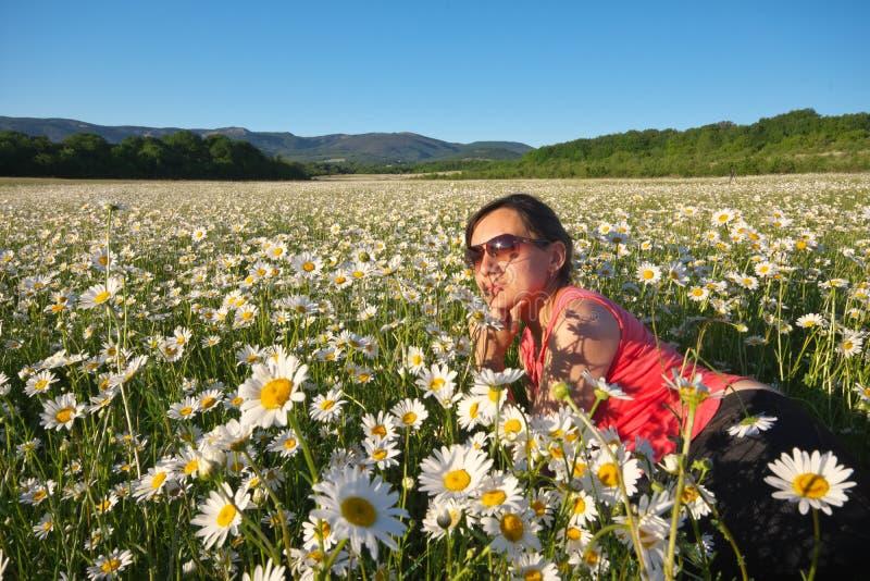 Mentira da menina no campo de flor da mola da roda de margarida foto de stock royalty free