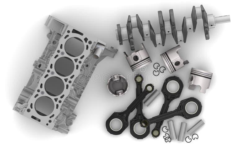 Mentira das peças de motor em uma superfície branca ilustração do vetor