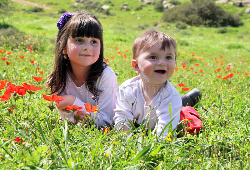 Mentira feliz das crianças em um prado imagem de stock