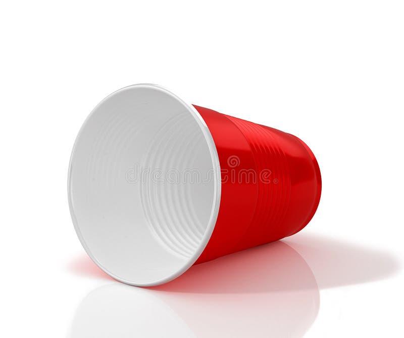 Mentira horizontalmente taza plástica roja ilustración del vector
