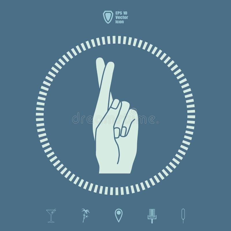 Mentira o suerte, símbolo del medio del gesto de mano de la superstición stock de ilustración