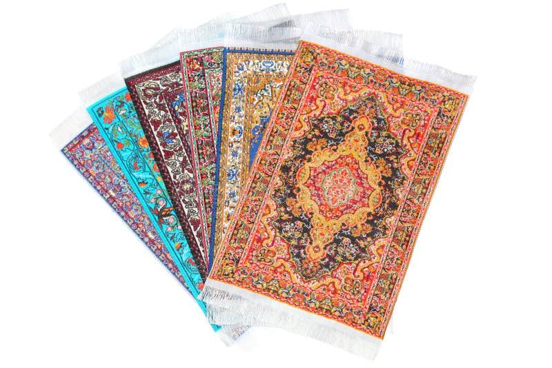 Mentira rectangular de seis alfombras en ventilador de la forma imágenes de archivo libres de regalías