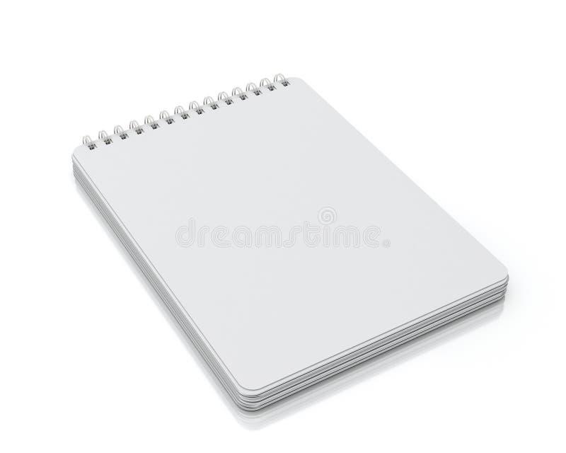 Mentira vacía del cuaderno espiral aislada en el fondo blanco ilustración del vector