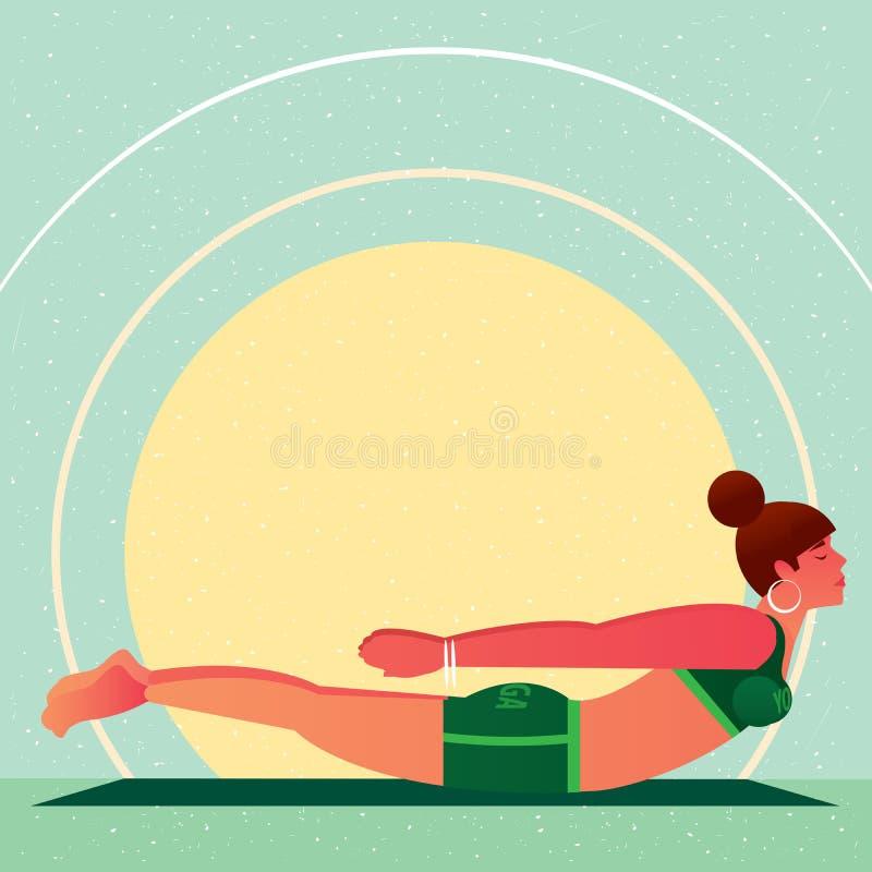Mentiras da menina na pose ou no Salabhasana dos locustídeo da ioga ilustração royalty free