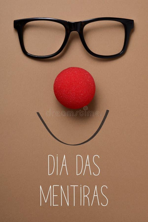 Mentiras Durchmessers DAS, Aprilscherztag auf portugiesisch lizenzfreies stockbild