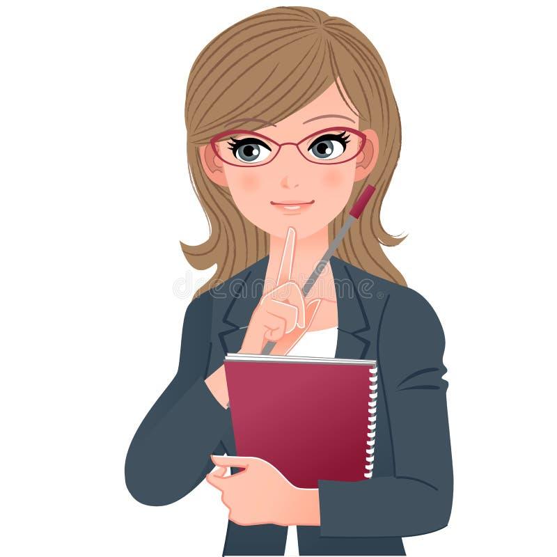 Mento commovente dell'insegnante di vetro di occhiali con il fingher di indice royalty illustrazione gratis