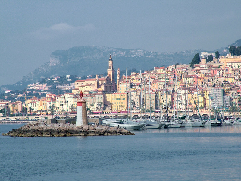Menton. View of church, old town and yachting port of Menton, Cote d'Azur, france royalty free stock photos