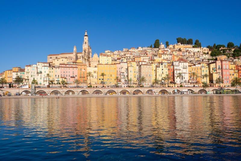 Menton auf französischem Riviera stockbilder