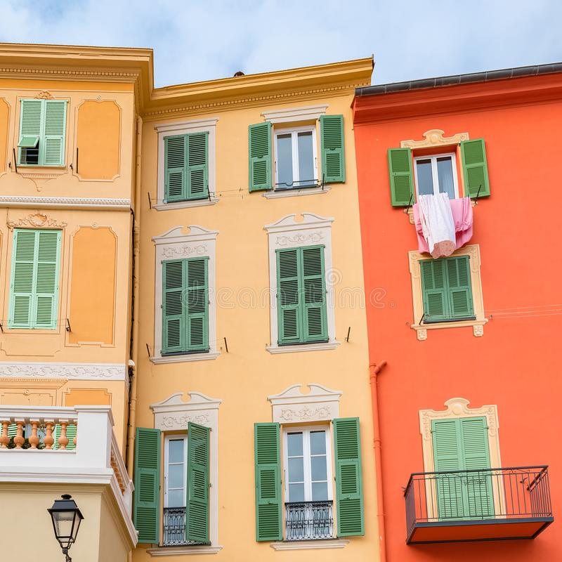 Menton, colorful houses stock photography