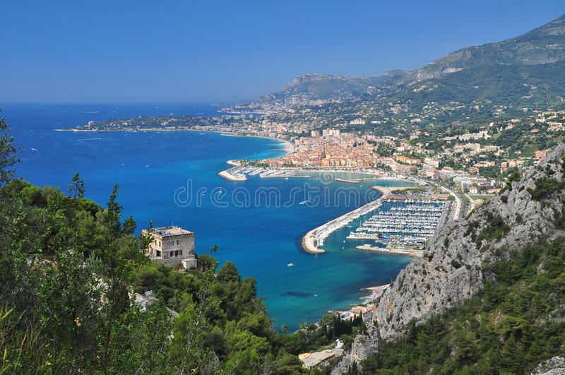 Menton cote azur, France. General view. French - Italian border. the town of Menton seen from the Italian side of the border. Cote d azur, France royalty free stock images