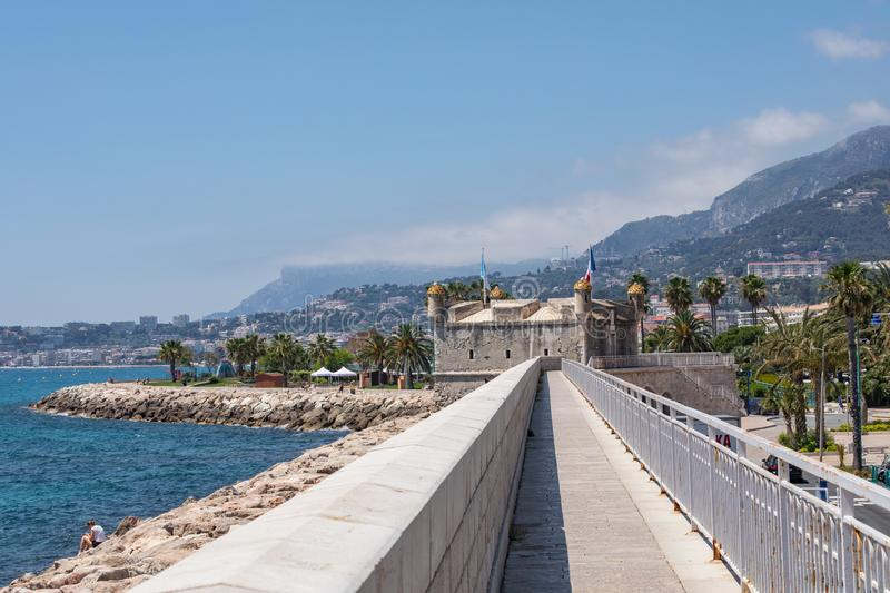 MENTON, FRANCE - JUNE 05, 2019: The bastion in port. Old town architecture of Menton on French Riviera. Provence-Alpes-Cote d`Azu. R, France royalty free stock photography