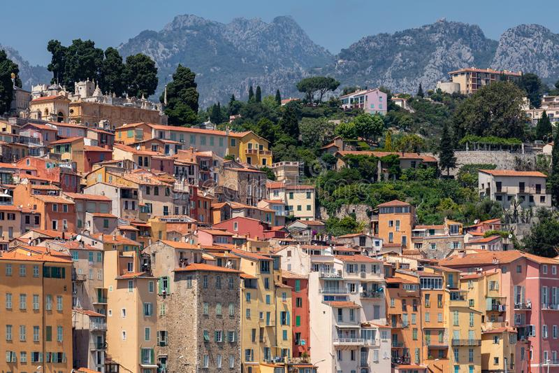 MENTON, FRANCE - JUNE 05, 2019: Colorful houses in old town architecture of Menton on French Riviera. Provence-Alpes-Cote d`Azur,. France stock photography