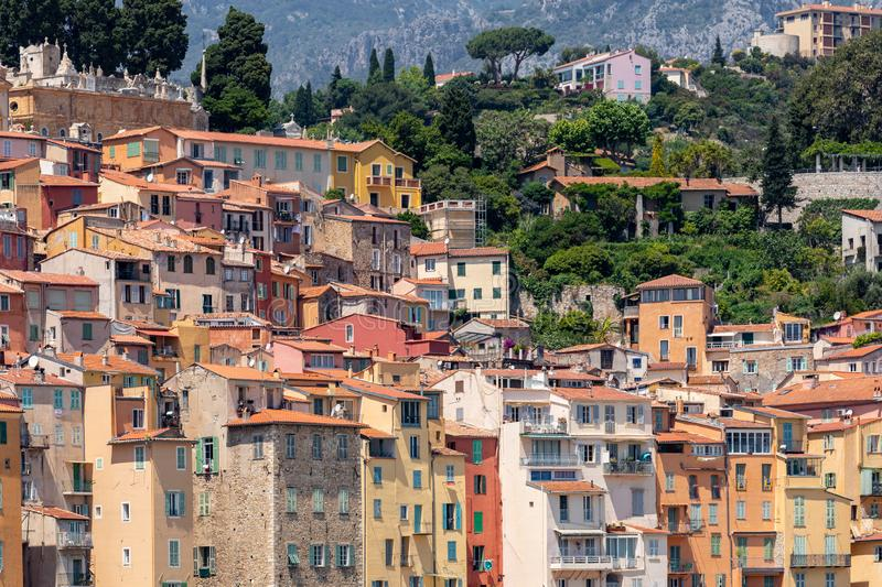 MENTON, FRANCE - JUNE 05, 2019: Colorful houses in old town architecture of Menton on French Riviera. Provence-Alpes-Cote d`Azur,. France royalty free stock photo