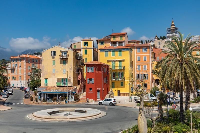 MENTON, FRANCE - JUNE 05, 2019: Colorful houses in old town architecture of Menton on French Riviera. Provence-Alpes-Cote d`Azur,. France stock image