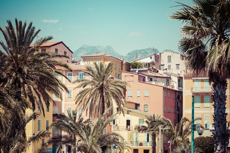 MENTON, FRANCE - JUNE 05, 2019: Colorful houses in old town architecture of Menton on French Riviera. Provence-Alpes-Cote d`Azur,. France stock images