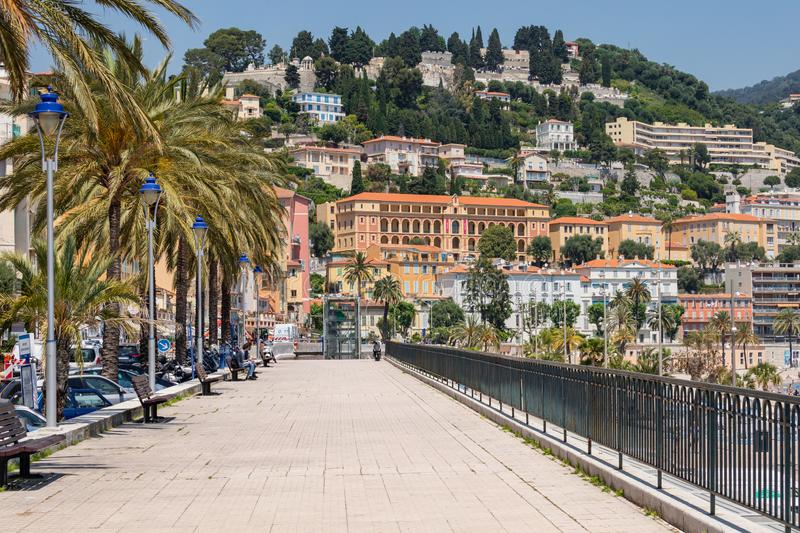 MENTON, FRANCE - JUNE 05, 2019: Old town architecture of Menton on French Riviera. Provence-Alpes-Cote d`Azur, France.  royalty free stock photography