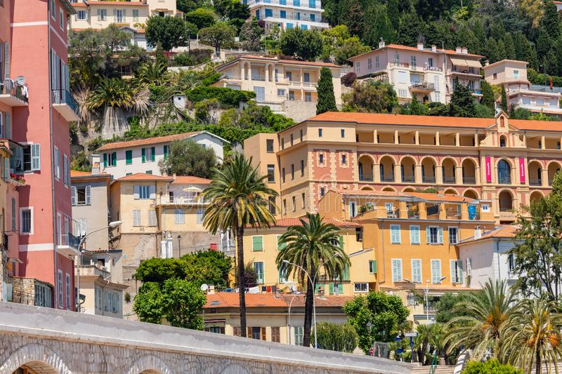 MENTON, FRANCE - JUNE 05, 2019: Old town architecture of Menton on French Riviera. Provence-Alpes-Cote d`Azur, France.  royalty free stock photo