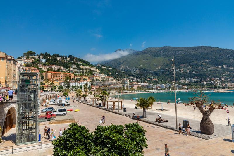 MENTON, FRANCE - JUNE 05, 2019: Old town architecture of Menton on French Riviera. Provence-Alpes-Cote d`Azur, France.  royalty free stock image