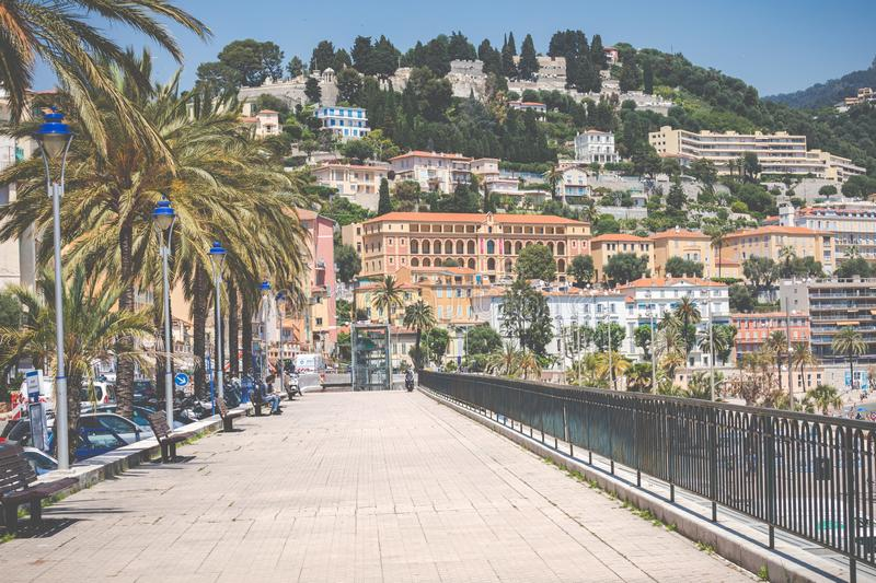 MENTON, FRANCE - JUNE 05, 2019: Old town architecture of Menton on French Riviera. Provence-Alpes-Cote d`Azur, France.  stock image