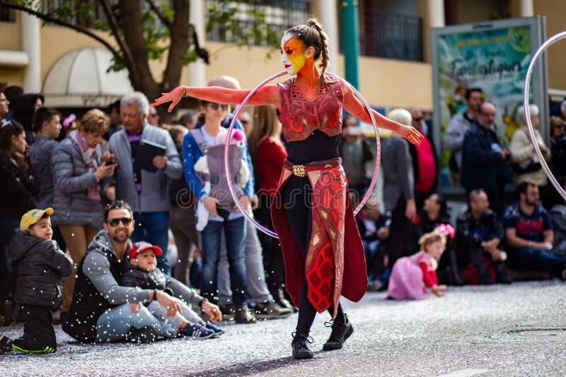 Menton Lemon Festival 2019, Street Carnaval, Fantastic Worlds Theme, artist portrait. Famous celebration on Cote d`Azur, France, Europe, Fete du citron, Corso royalty free stock photo